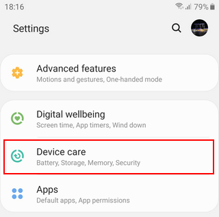 Samsung Galaxy Device care Android 9