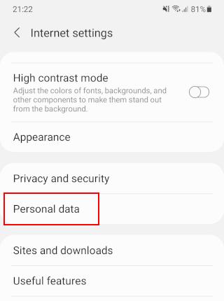 Samsung Internet Personal data