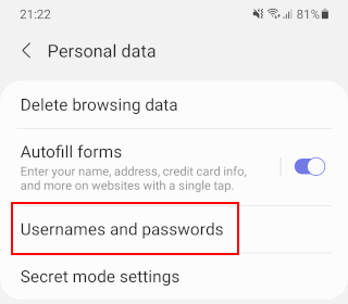 Samsung Internet usernames and passwords