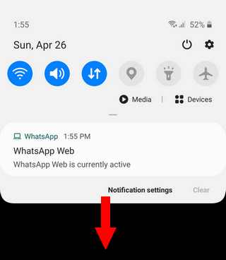 Samsung notifications panel