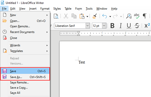 Save a document in LibreOffice