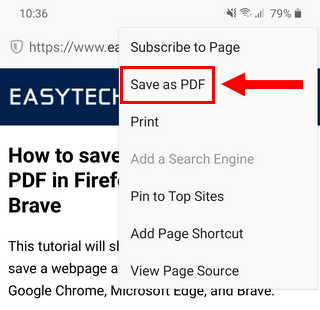 Save a webpage as a PDF in Firefox on Android