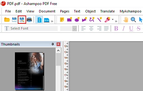 Save as button in Ashampoo PDF Free