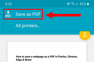 Save as PDF option in Microsoft Edge on Android