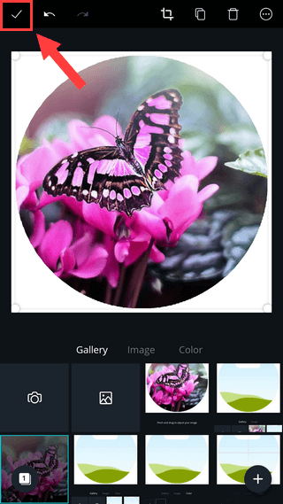 Save editing in Canva app