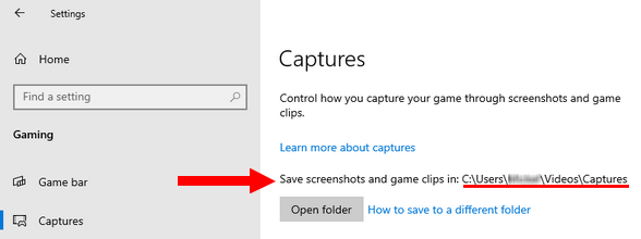 Save location of captures in Windows 10