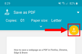 Save PDF button in Google Chrome on Android