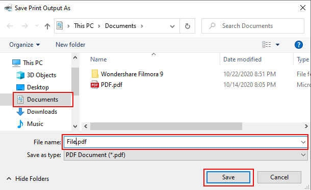 Save PDF file with image in Windows 10