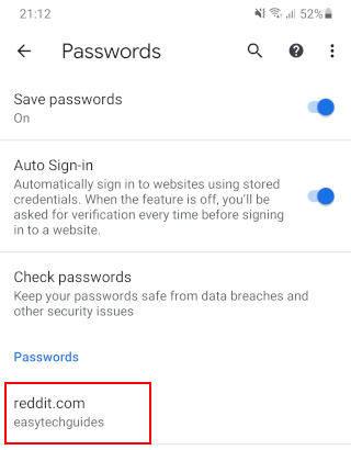 Saved password in Google Chrome on Android