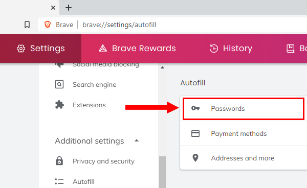 Saved passwords in Brave