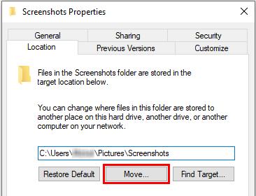 Screenshots Properties Move button