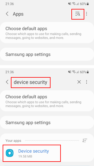 Search for Device security app on a Samsung phone
