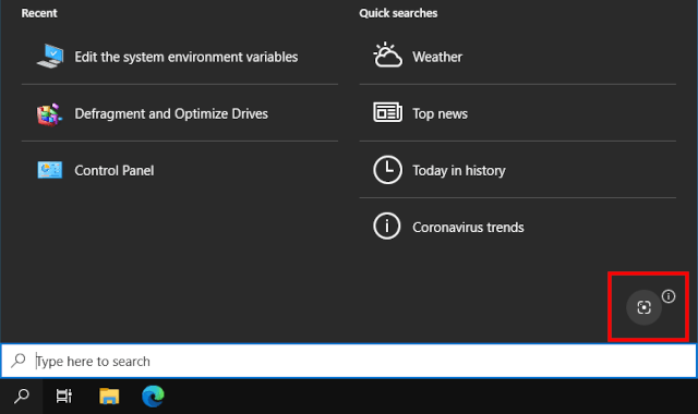 Search with a screenshot button in Windows 10