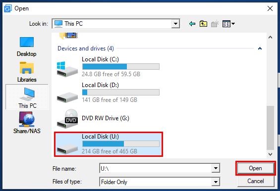 Select a backup location in AOMEI Backupper