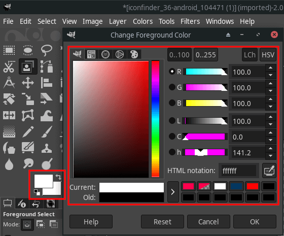 Select a color in GIMP 2