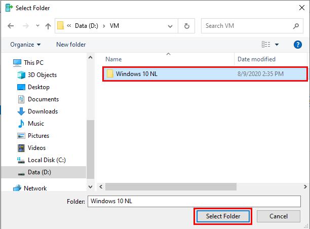 Select a new folder for Hyper-V virtual machine