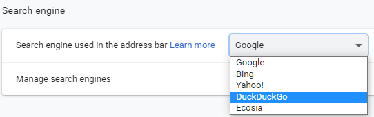 Select a search engine in Google Chrome