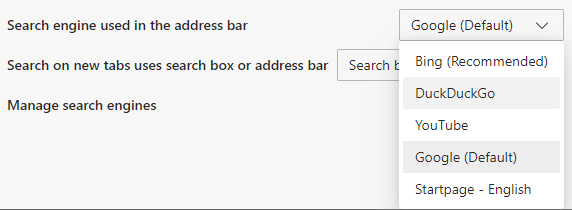Select a search engine in Microsoft Edge