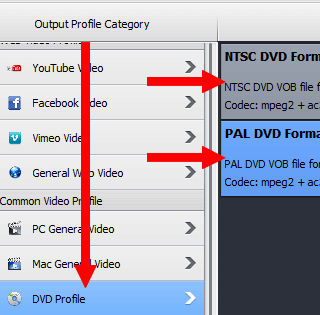 select dvd format in WinX HD Video Converter Deluxe