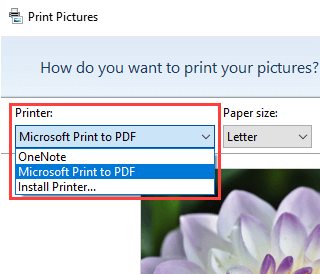 Select Microsoft Print to PDF in Windows 10