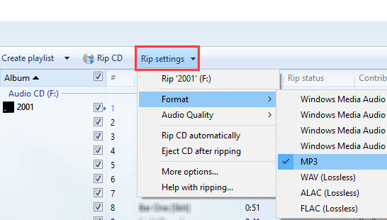 Select MP3 in Windows Media Player rip settings