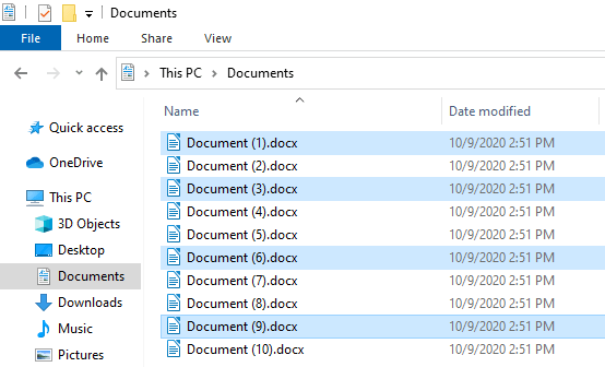 Select multiple files in Windows 10 File Explorer