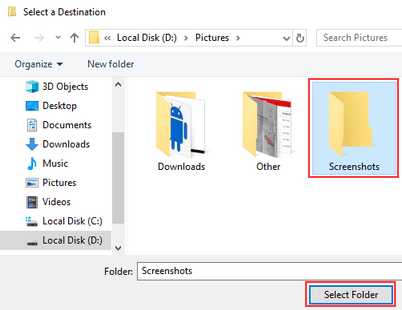 Select new destination for Screenshots folder in Windows 10