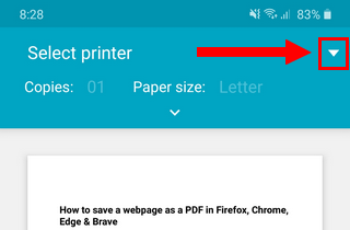 Select printer button in Microsoft Edge on Android