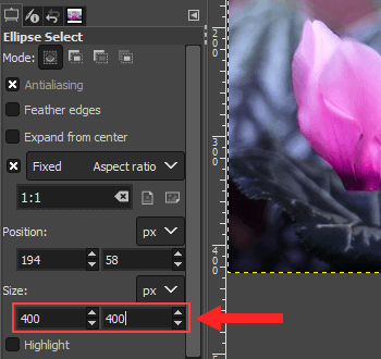 Select size for image in GIMP