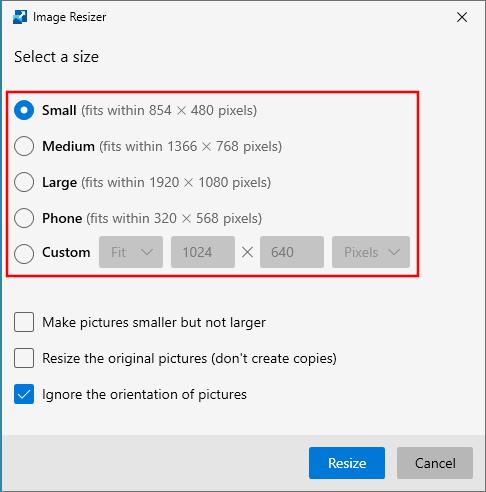 Select the image size in Microsoft PowerToys Image Resizer