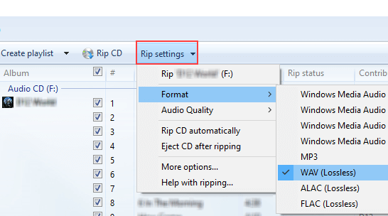 Select WAV audio format in Windows Media Player