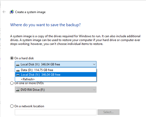Select where to save the system image backup options in Windows 10