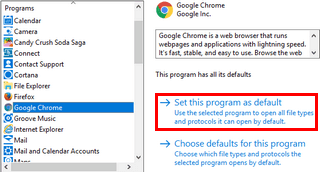 set default web browser in windows 10 using control panel