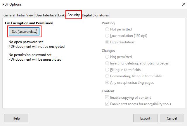Set passwords in LibreOffice
