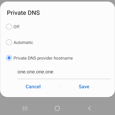 Set up Private DNS on an Android phone