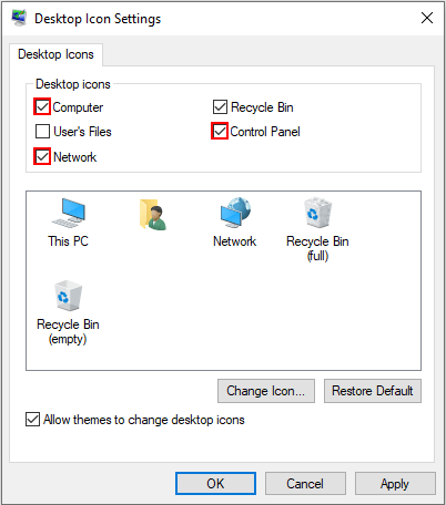 Show Computer, Control Panel, or Network icon on the desktop in Windows 10