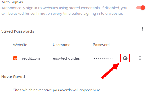 Show password button in Brave