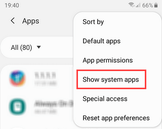 Show system apps on Samsung Galaxy