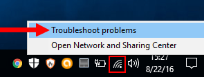 solve connection problems using windows network troubleshooter