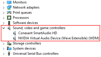 Sound, video and game controllers in Windows Device Manager