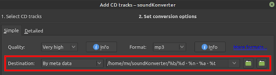 soundKonverter destination folder