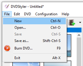 Start a new project in DVDStyler