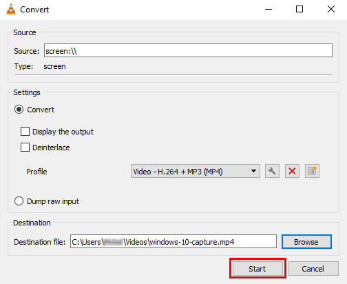 Start button in VLC media player