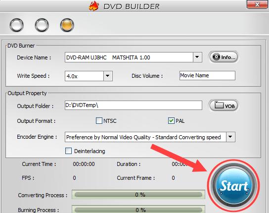 Start button in WinX DVD Author
