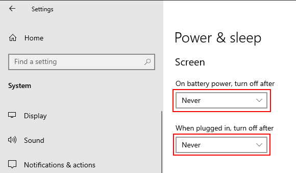 Stop Windows 10 from turning off your screen