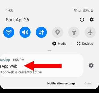 Swipe WhatsApp Web is currently active notification to the left