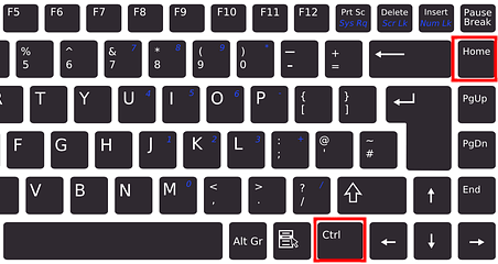The CTRL and Home keyboard keys