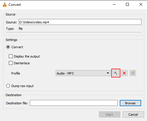 The Edit selected profile button in VLC media player