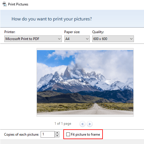 The fit picture to frame option option in Print pictures window in Windows 10