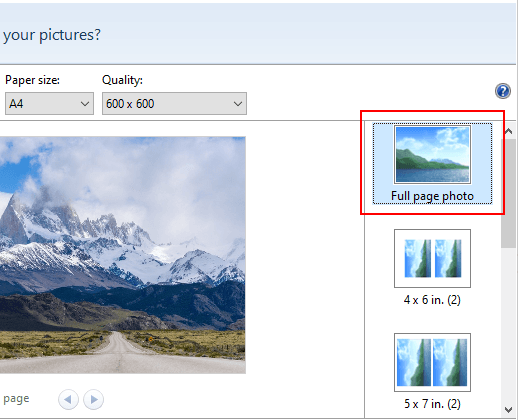The full page photo option in Print Pictures window in Windows 10